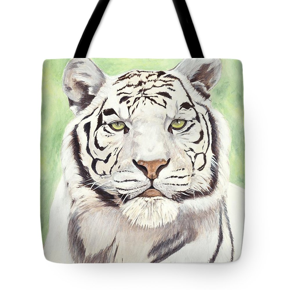 Tiger Tote Bag featuring the painting White Silence by Shawn Stallings