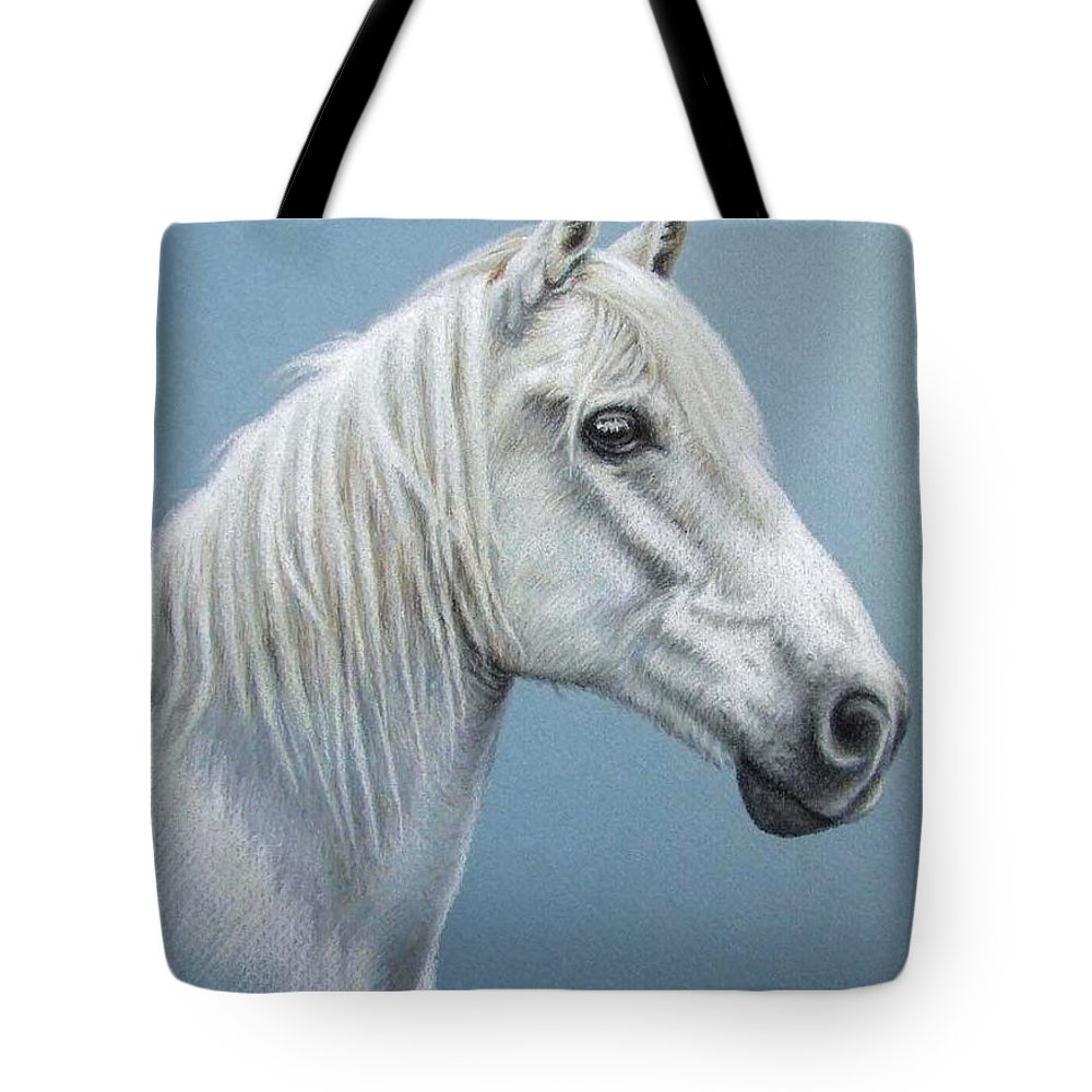 Horse Stallion White Pferd Portrait Animal Realism Pastel Tote Bag featuring the pastel White Stallion by Nicole Zeug