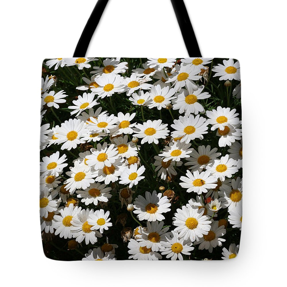 White Tote Bag featuring the photograph White Summer Daisies by Christine Till