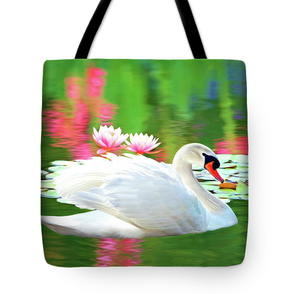 Swan Tote Bag featuring the photograph White Swan by Laura D Young