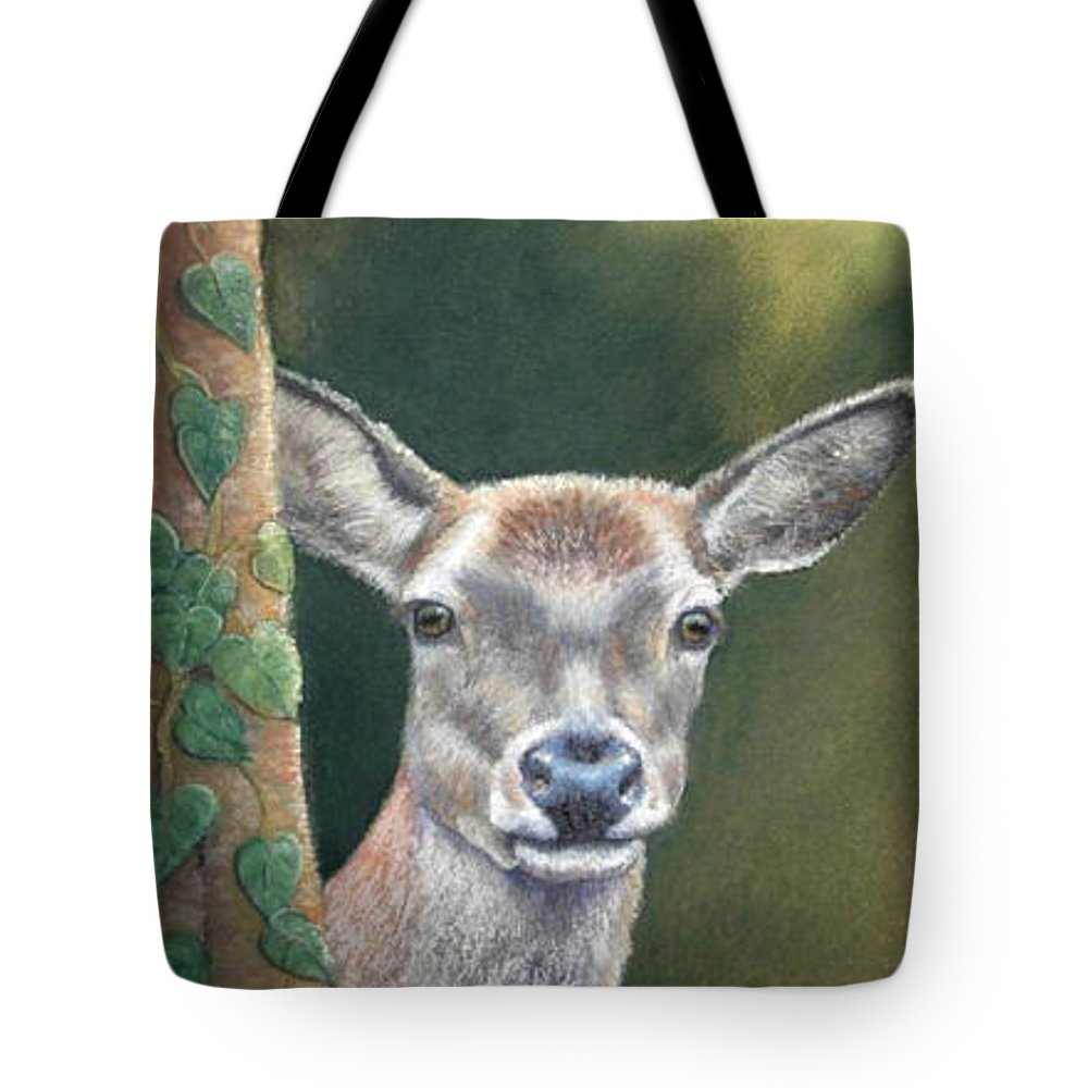 Rainforest Tote Bag featuring the painting White Tail Doe At Ancon Hill by Ceci Watson