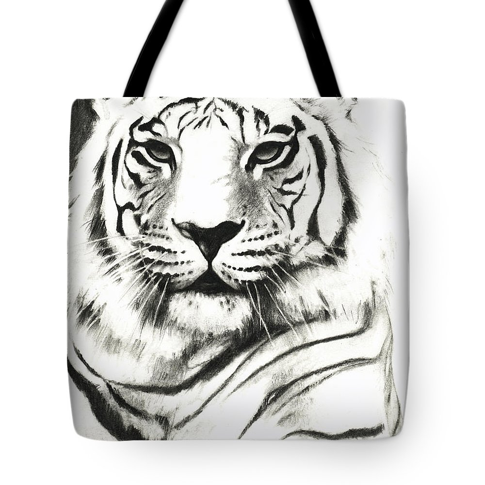 Lin Petershagen Tote Bag featuring the drawing White Tiger Portrait by Lin Petershagen