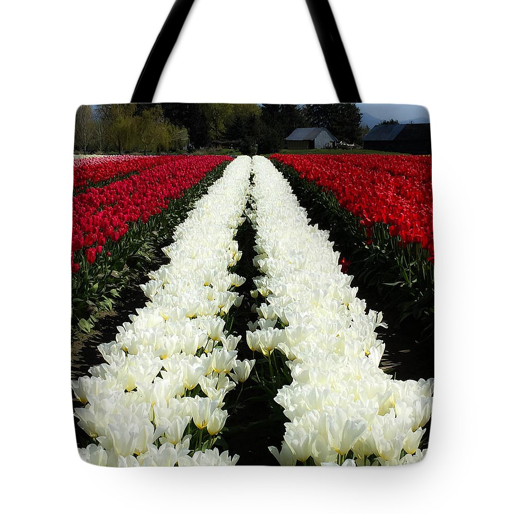 White Tulips Tote Bag featuring the digital art White Tulip Rows by Mia DeBolt