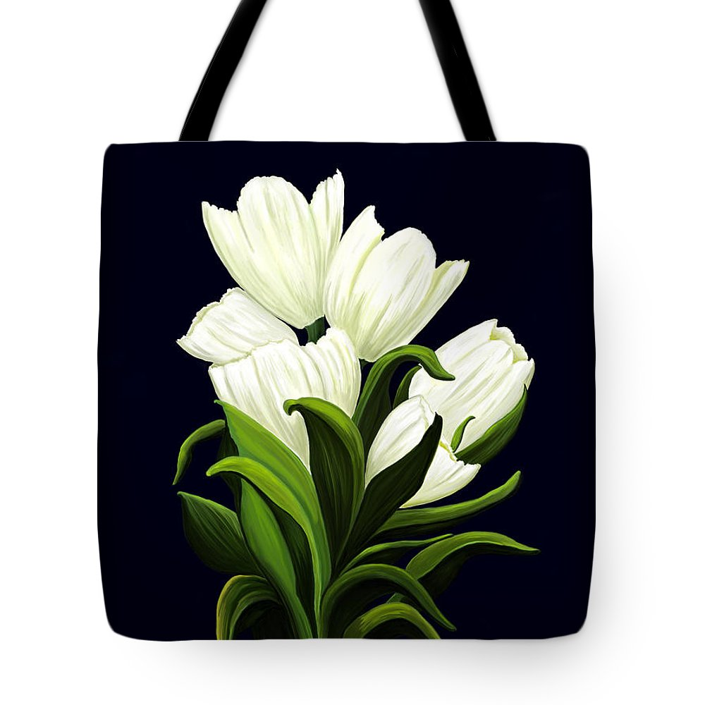 Mixed Media Tote Bag featuring the painting White Tulips by Patricia Griffin Brett