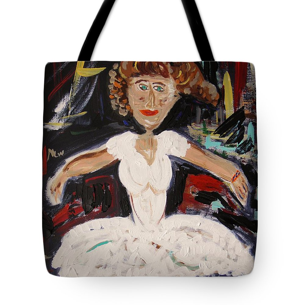 Ballet Tote Bag featuring the painting White Tutu by Mary Carol Williams