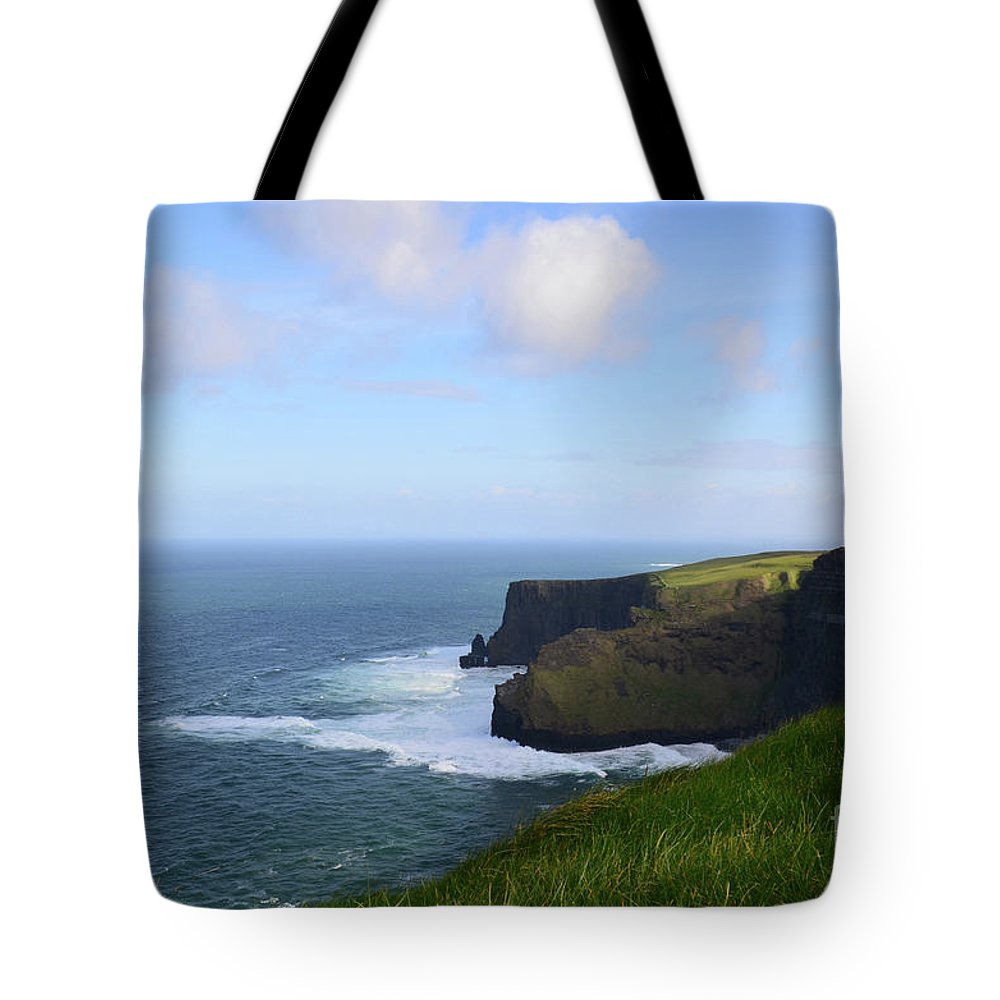 Grass Tote Bag featuring the photograph White Water At The Base Of The Cliff's Of Moher by DejaVu Designs