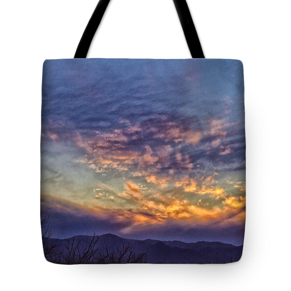 Sunset Tote Bag featuring the photograph White Water Draw Sunset by Deb Henman