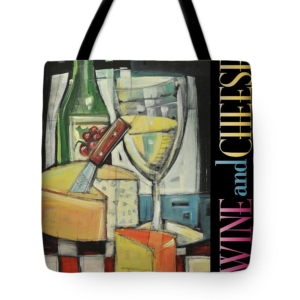 Wine Tote Bag featuring the painting White Wine And Cheese Poster by Tim Nyberg