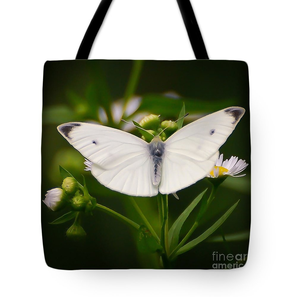 White Butterfly Tote Bag featuring the photograph White Wings Of Wonder by Kerri Farley