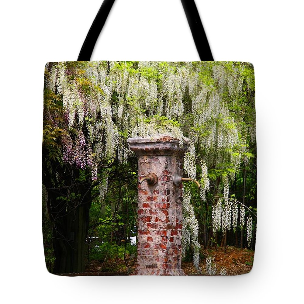 Garden Tote Bag featuring the photograph White Wisteria by Kathryn Meyer