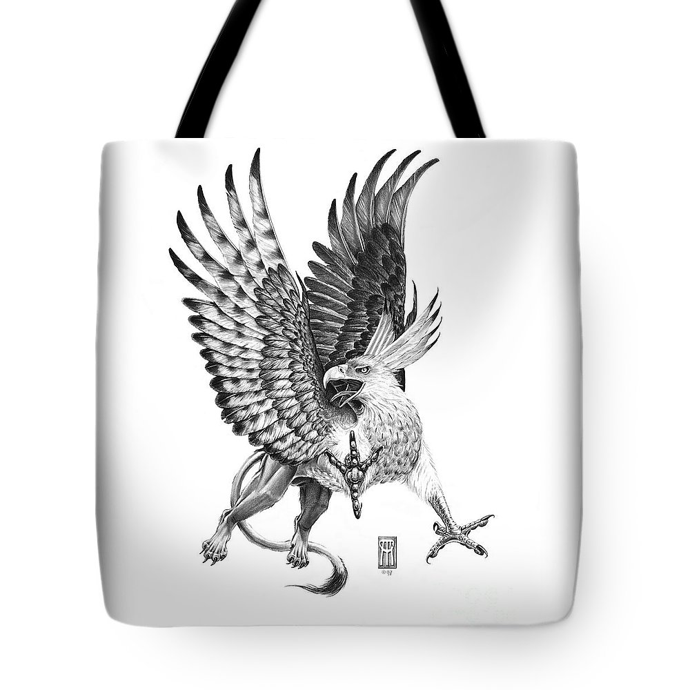 Mythology Tote Bag featuring the drawing Whitehead Griffin by Melissa A Benson