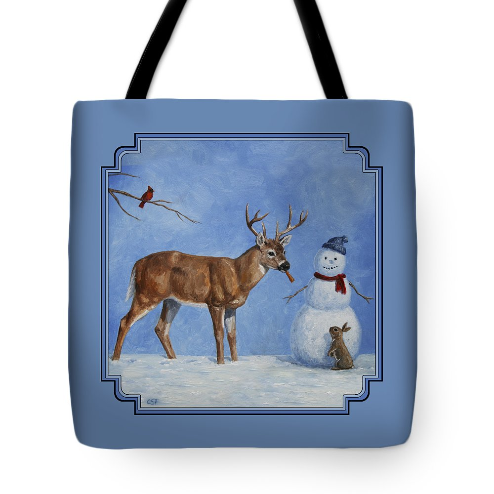 Christmas Tote Bag featuring the painting Whitetail Deer And Snowman - Whose Carrot? by Crista Forest