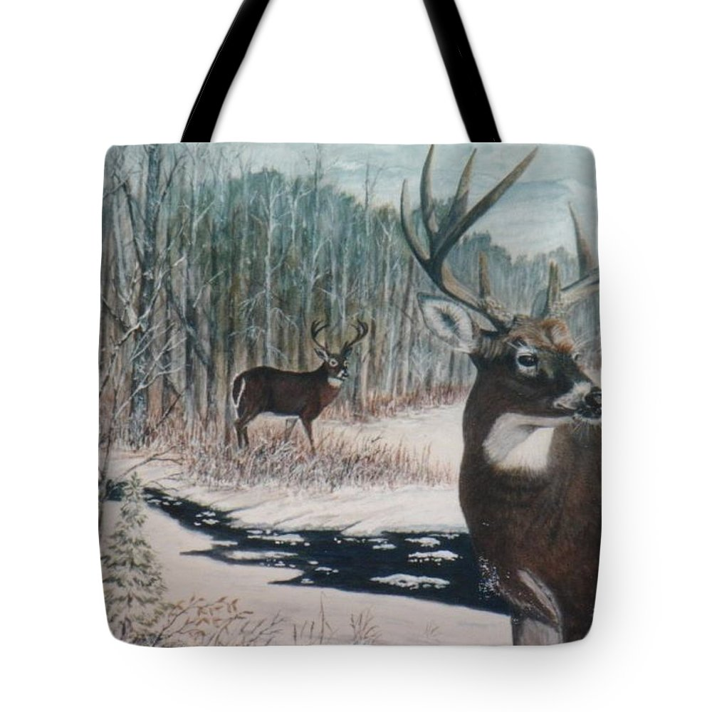 Deer; Snow; Creek Tote Bag featuring the painting Whitetail Deer by Ben Kiger