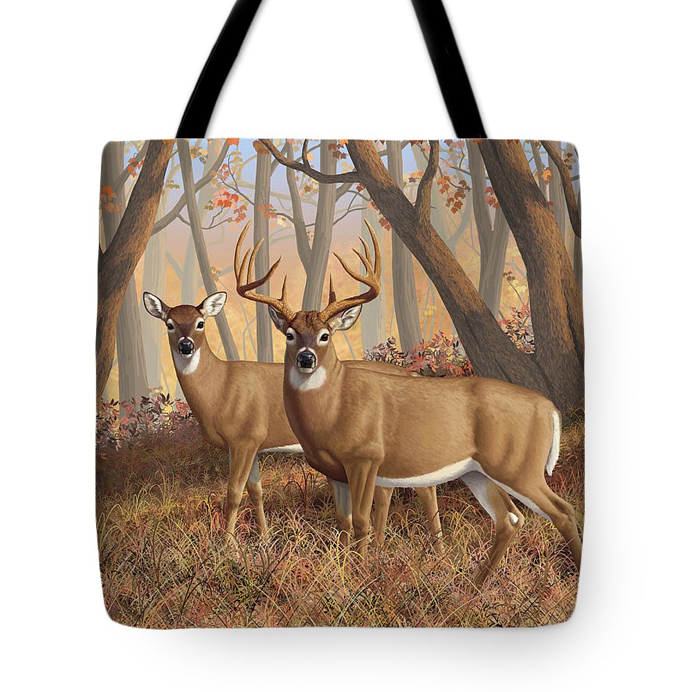 Deers Tote Bag featuring the digital art Whitetail Deer Painting - Fall Flame by Crista Forest
