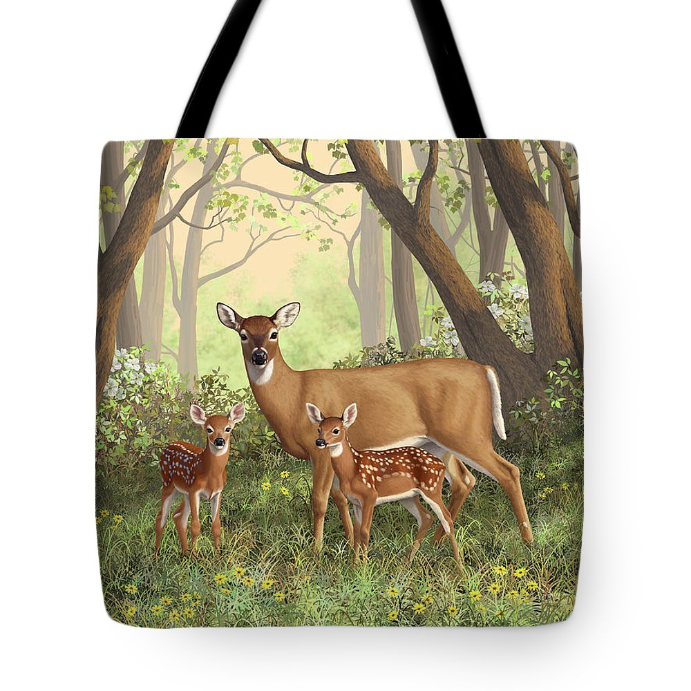 Whitetail Deer Tote Bag featuring the painting Whitetail Doe And Fawns - Mom's Little Spring Blossoms by Crista Forest