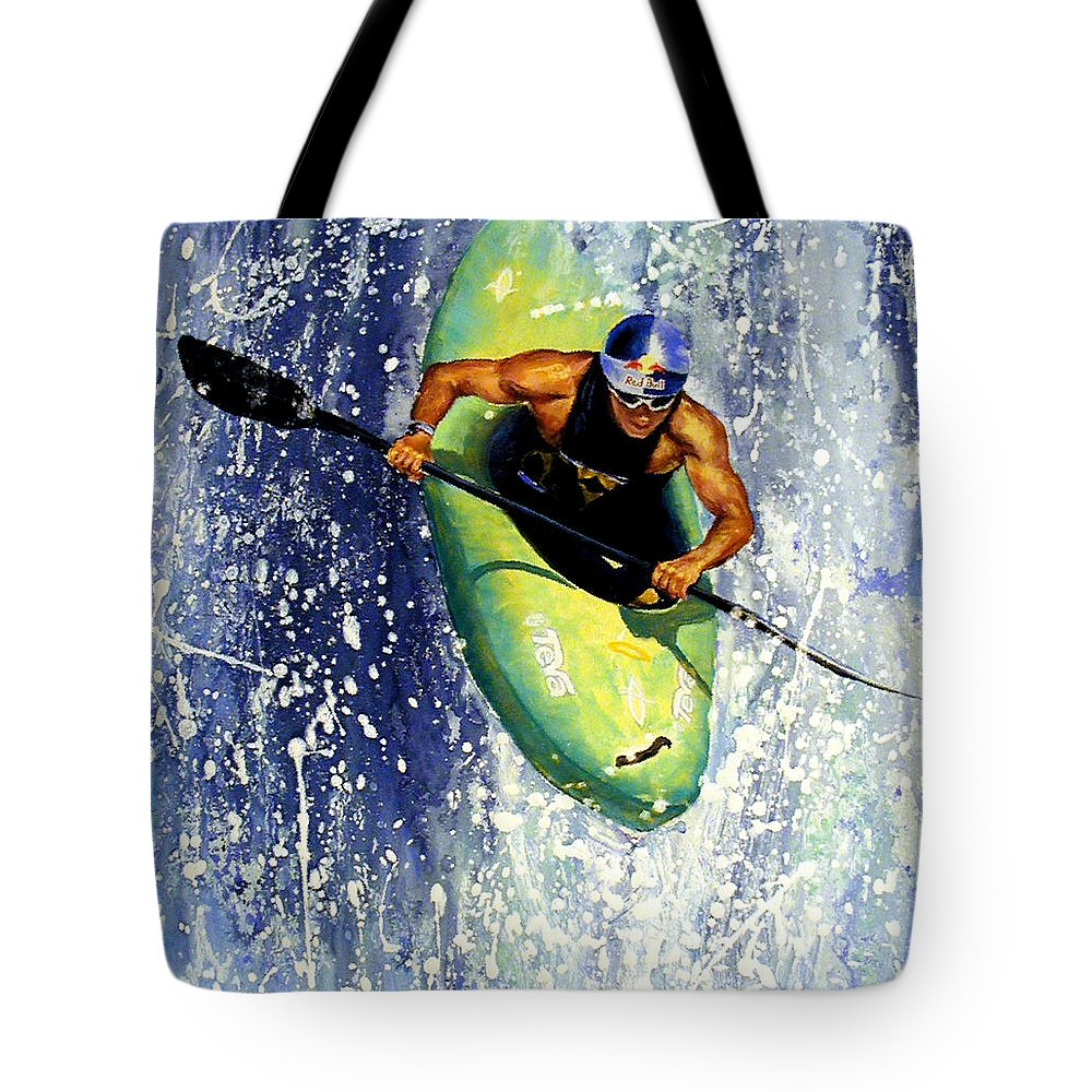 Kayaker Tote Bag featuring the painting Whitewater Kayaker by Lynee Sapere