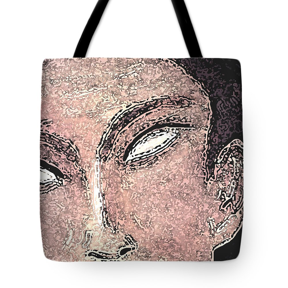 Faces Tote Bag featuring the mixed media Whiteyes by Jorge Delara