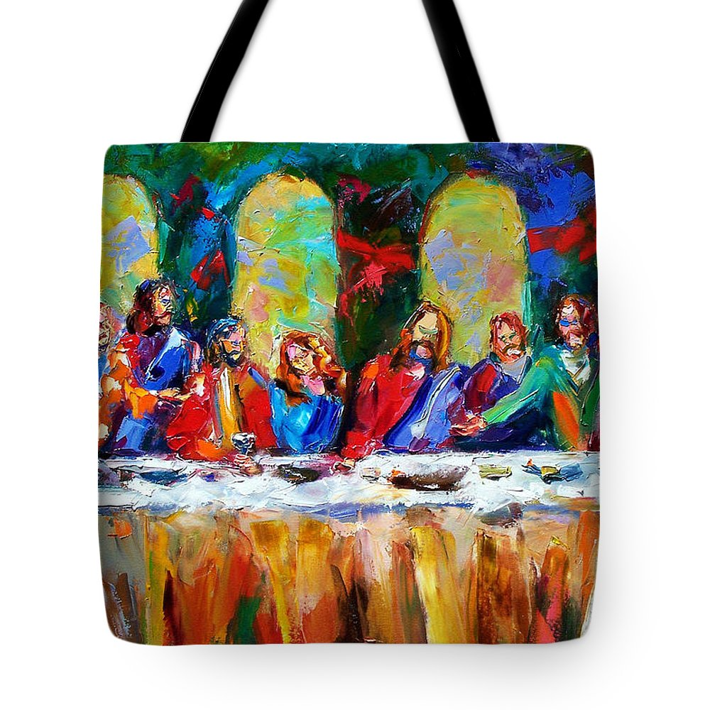 Last Supper Tote Bag featuring the painting Who Among Us by Debra Hurd