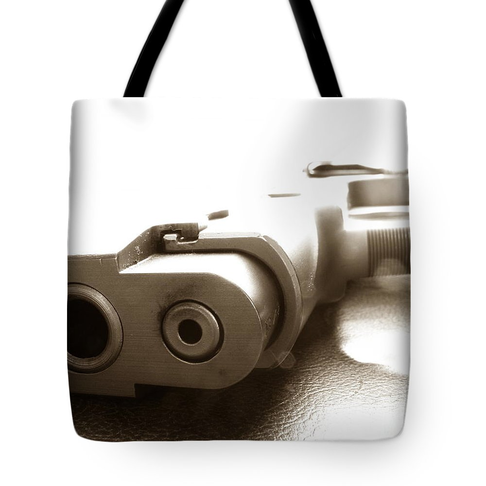 Gun Tote Bag featuring the photograph Why by Amanda Barcon