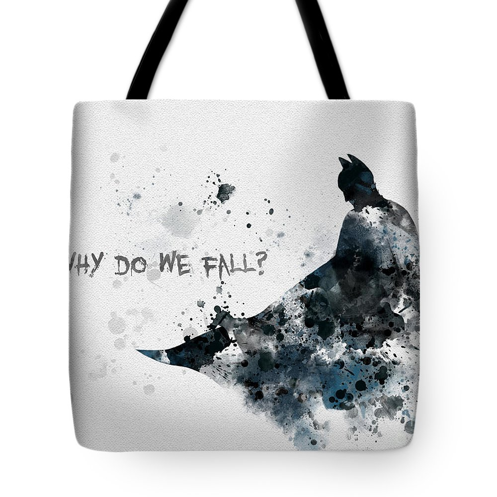 Batman Tote Bag featuring the mixed media Why Do We Fall? by My Inspiration