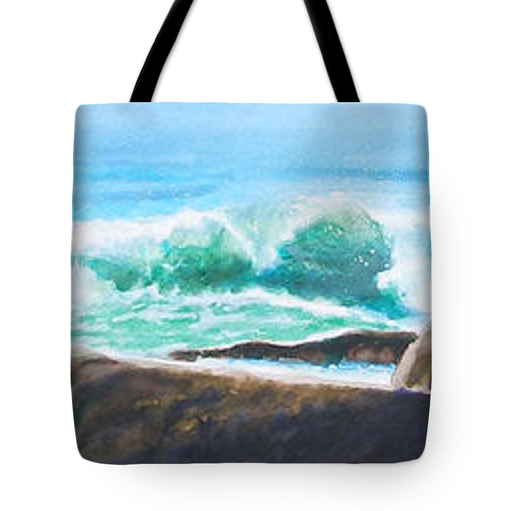 Seascape Tote Bag featuring the painting Widescreen Wave by Ken Meyer