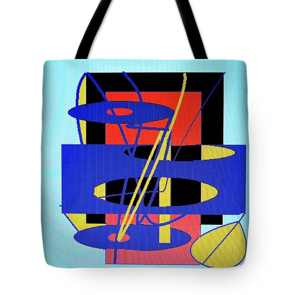 Abstract Tote Bag featuring the digital art Widget World by Ian MacDonald