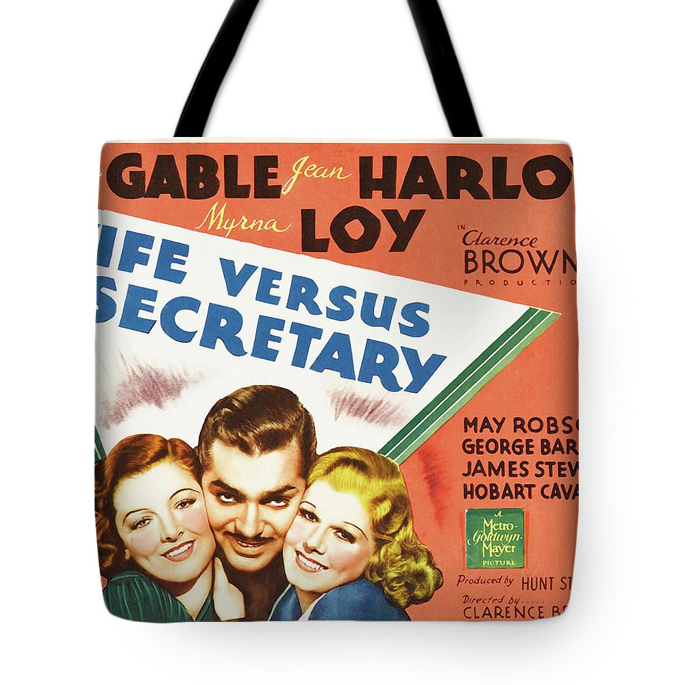 Movie Tote Bag featuring the mixed media Wife Versus Secretary 1936 by Mountain Dreams