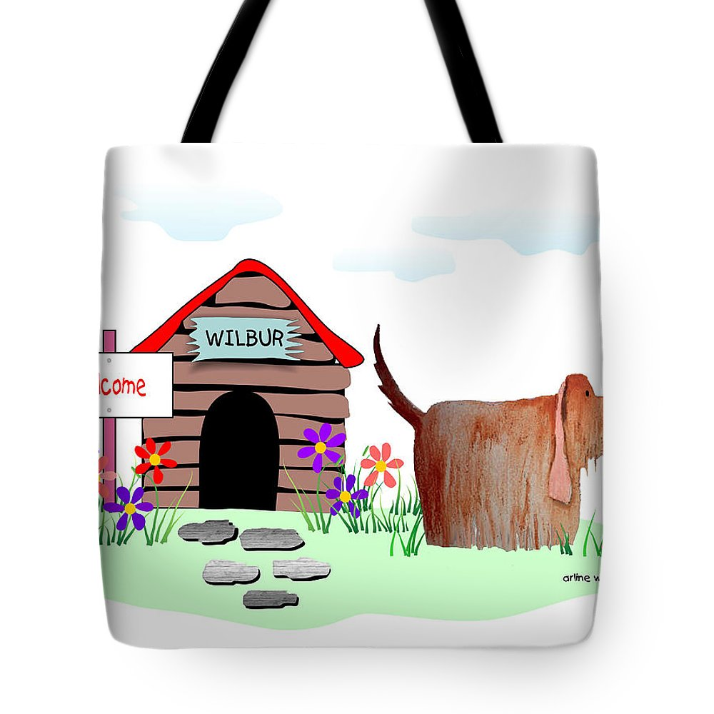 Dog Tote Bag featuring the digital art Wilbur And The Butterfly by Arline Wagner