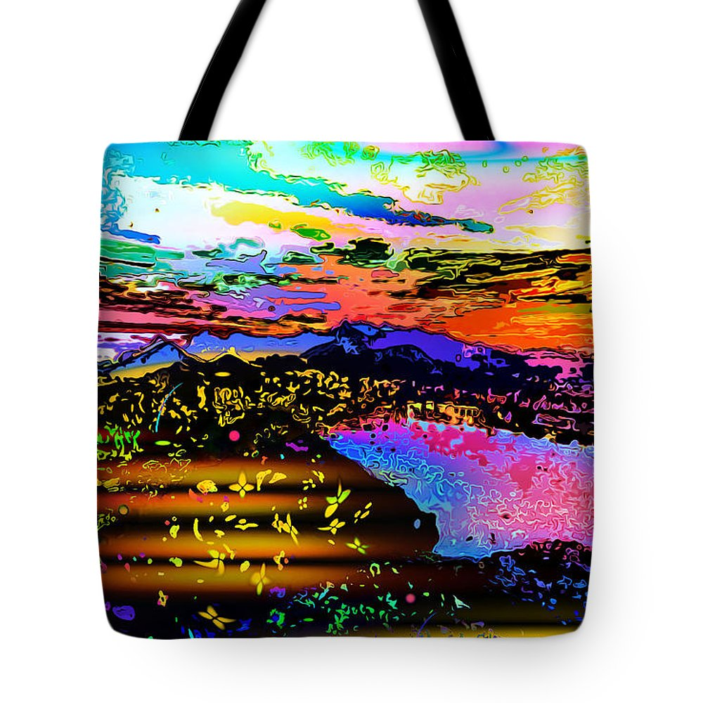World's Tote Bag featuring the digital art Wild And Crazy Mountainous Sunset by Ron Fleishman
