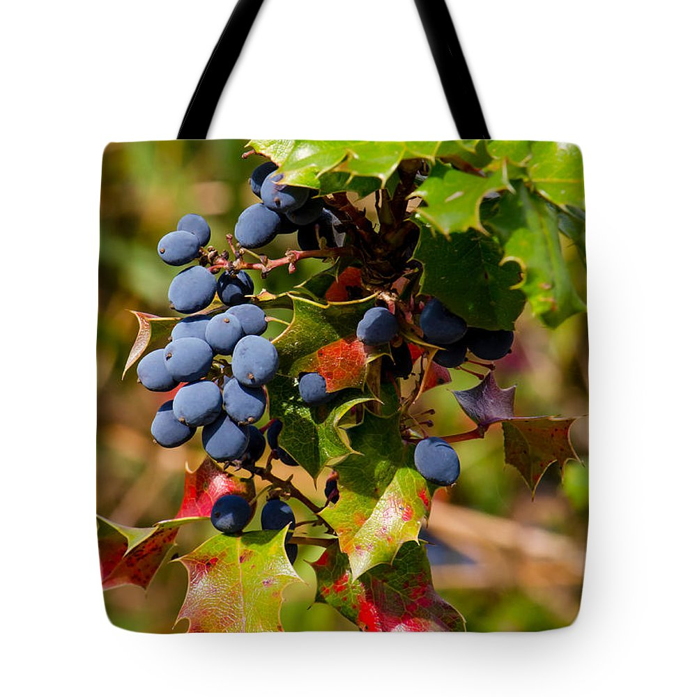 Blue Tote Bag featuring the photograph Wild Berries by Shanna Hyatt