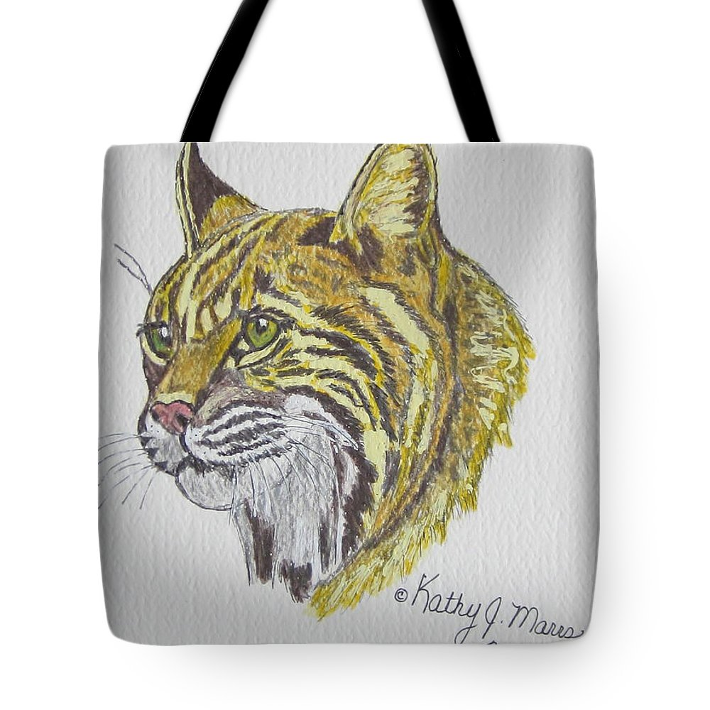 Wild Bobcat Tote Bag featuring the painting Wild Bobcat by Kathy Marrs Chandler