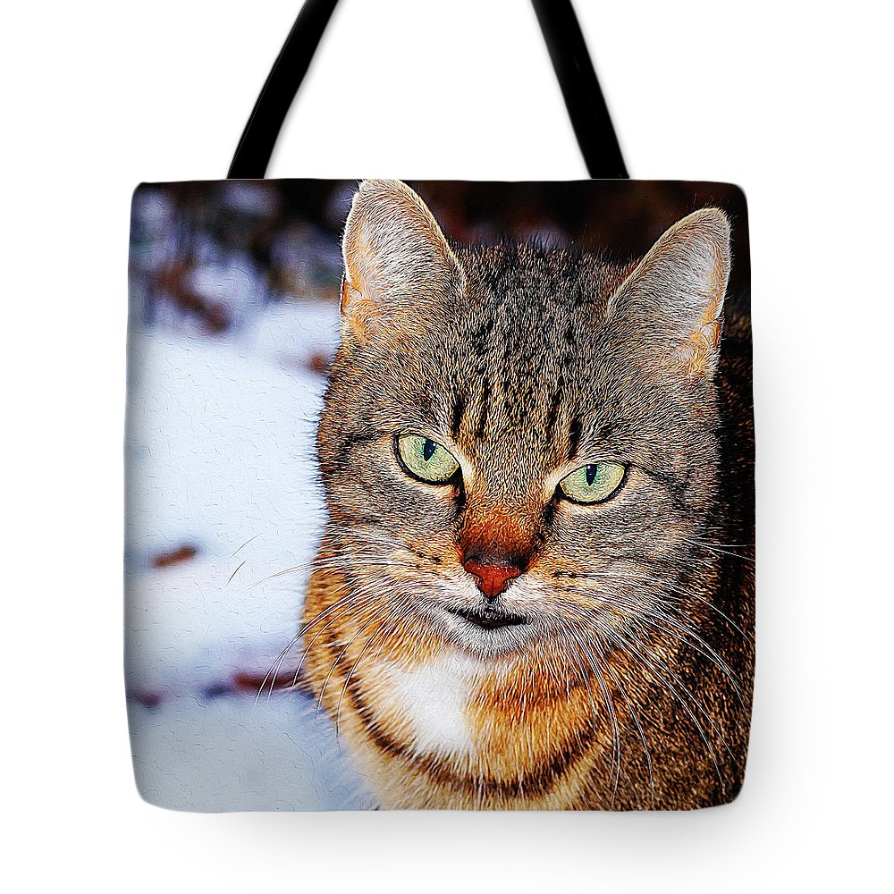 Cat Art Tote Bag featuring the painting Wild Cat by Queso Espinosa