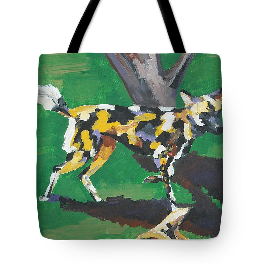 Dog Tote Bag featuring the painting Wild Dogs by Caroline Davis