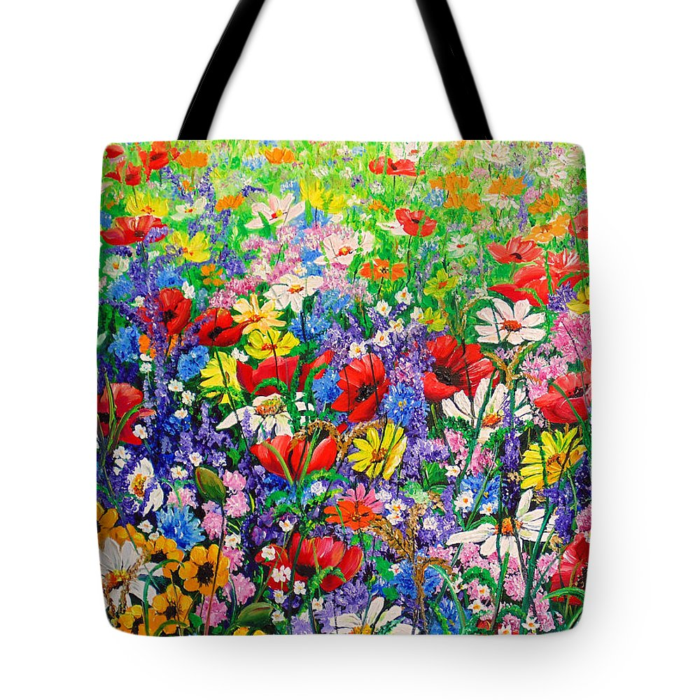 Wild Flowers Tote Bag featuring the painting Wild Flower Meadow by Karin Dawn Kelshall- Best