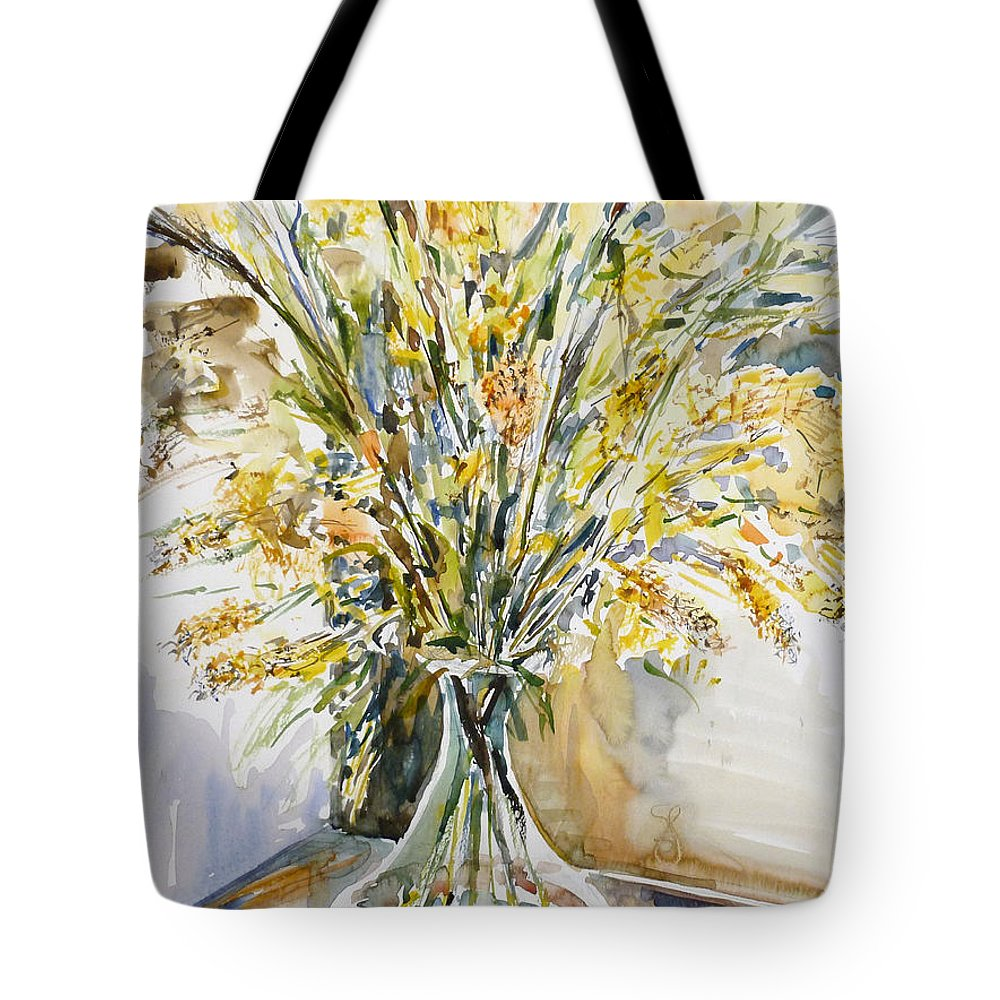 Still Life Tote Bag featuring the painting Wild Flowers #3 by Nellya Veller