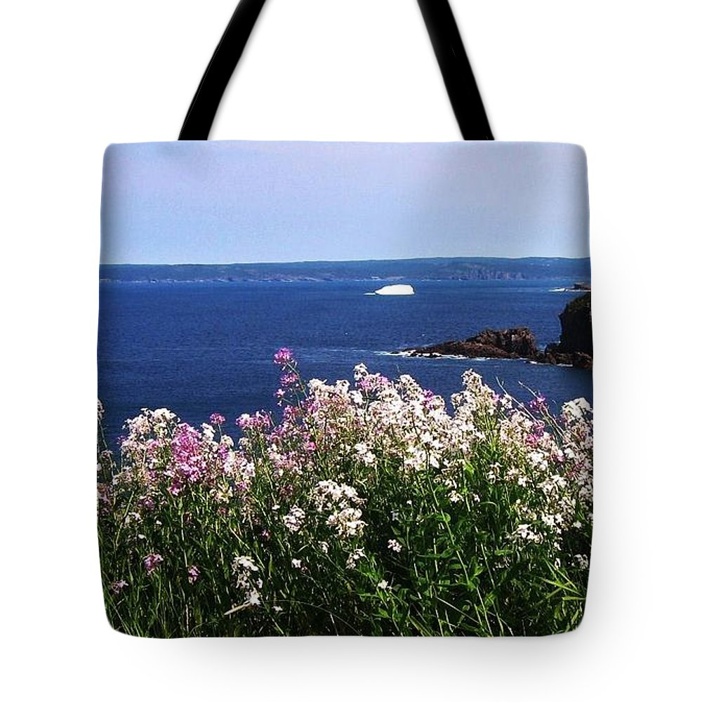 Photograph Iceberg Wild Flower Atlantic Ocean Newfoundland Tote Bag featuring the photograph Wild Flowers And Iceberg by Seon-Jeong Kim