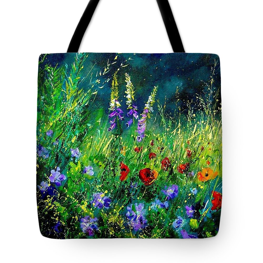 Poppies Tote Bag featuring the painting Wild Flowers by Pol Ledent