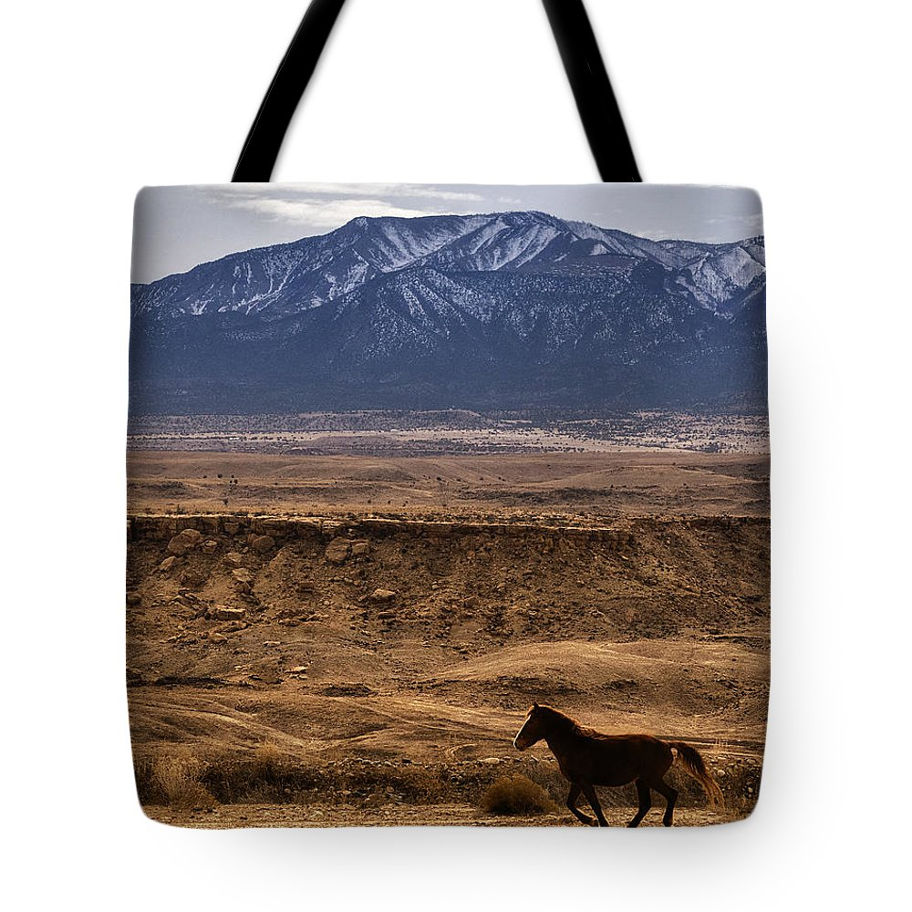 Wild Horse On The Run Tote Bag featuring the photograph Wild Horse On The Run by Priscilla Burgers