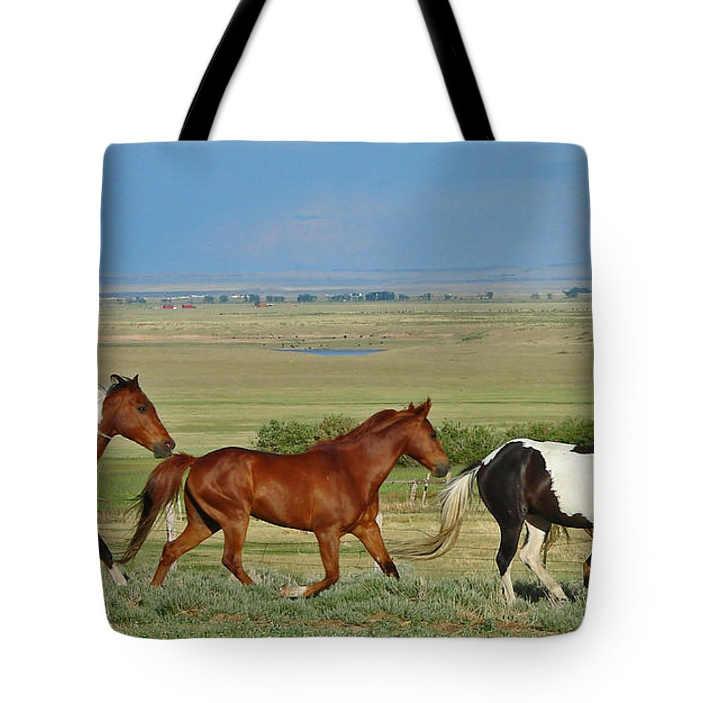 Herd Tote Bag featuring the photograph Wild Horses Wyoming by Heather Coen