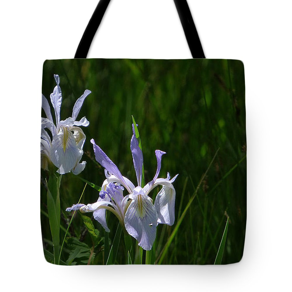 Ron Glaser Tote Bag featuring the photograph Wild Iris 4 by Ron Glaser