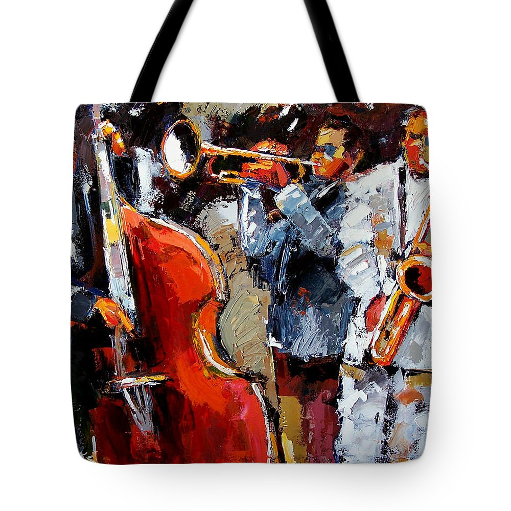 Jazz Tote Bag featuring the painting Wild Jazz by Debra Hurd