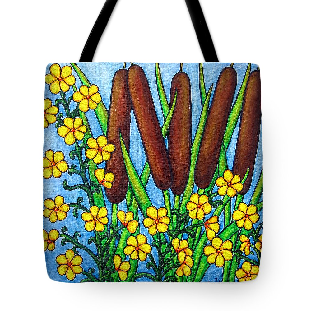Cat Tails Tote Bag featuring the painting Wild Medley by Lisa Lorenz