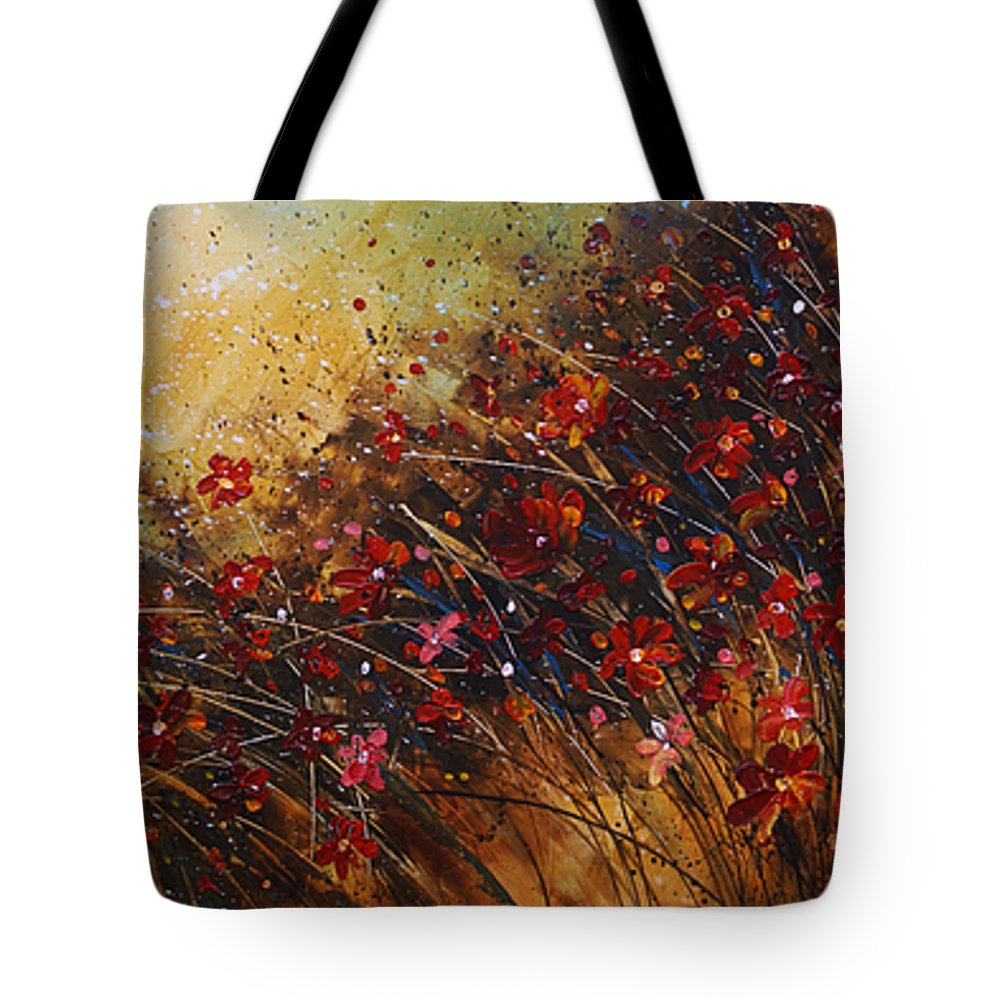 Red Flowers Tote Bag featuring the painting Wild by Michael Lang