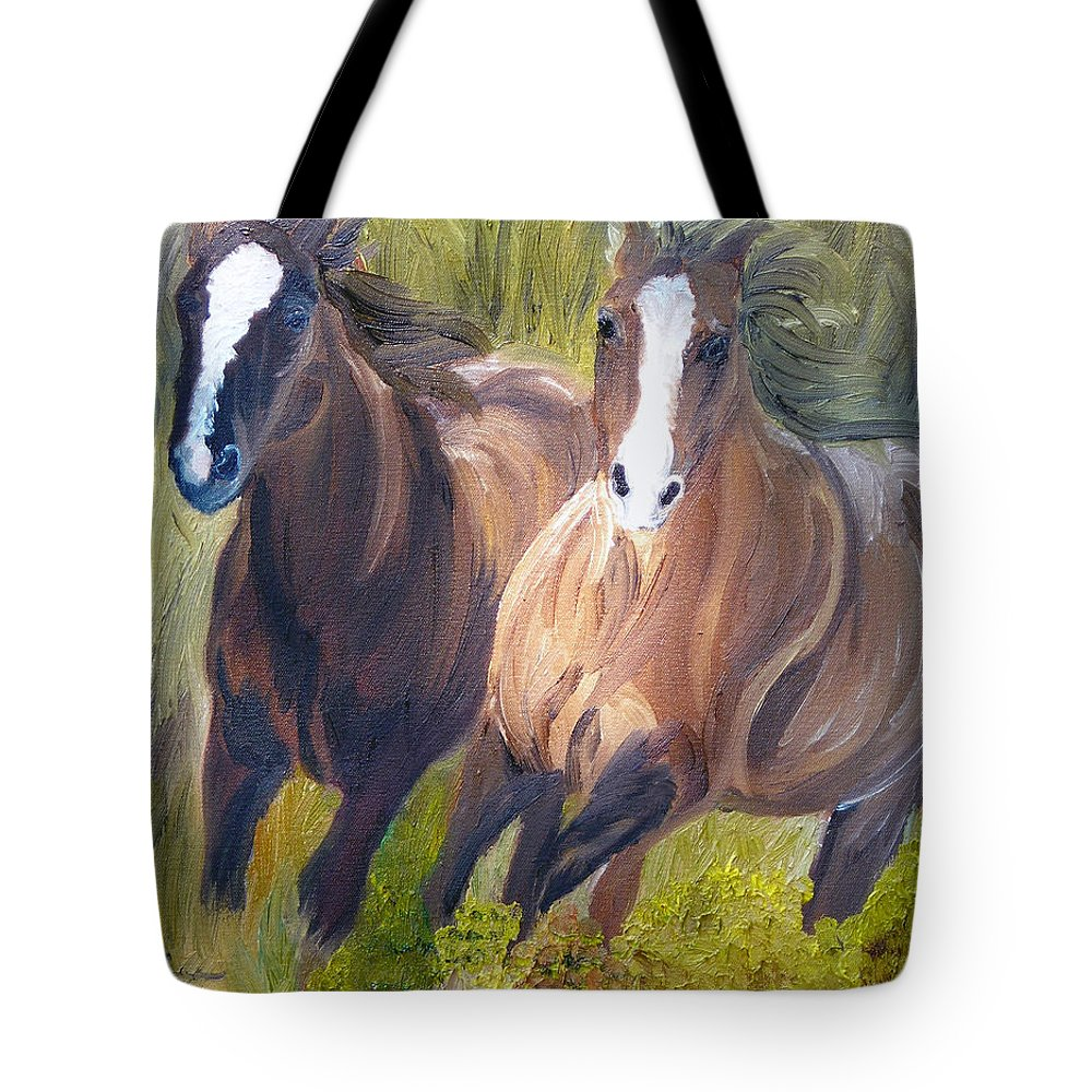 Horses Tote Bag featuring the painting Wild Mustangs by Michael Lee