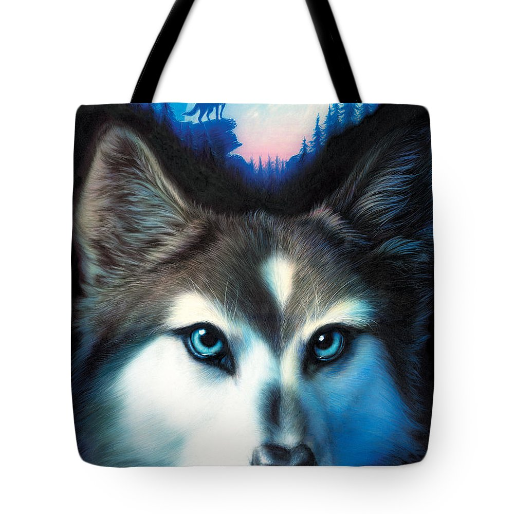 Wolf Tote Bag featuring the photograph Wild One by MGL Meiklejohn Graphics Licensing