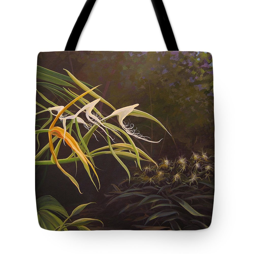 Caribbean Tote Bag featuring the painting Wild Orchids by Hunter Jay