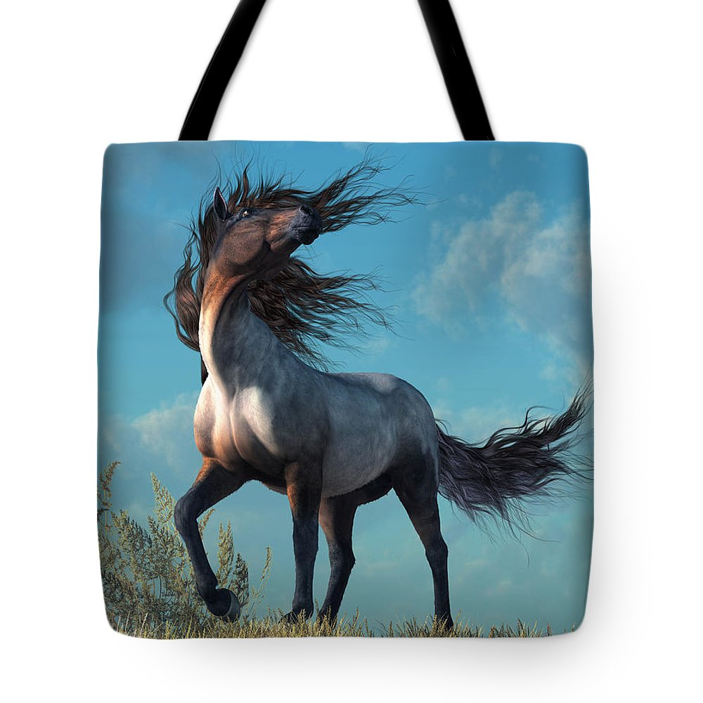 Wild Roan Tote Bag featuring the digital art Wild Roan by Daniel Eskridge