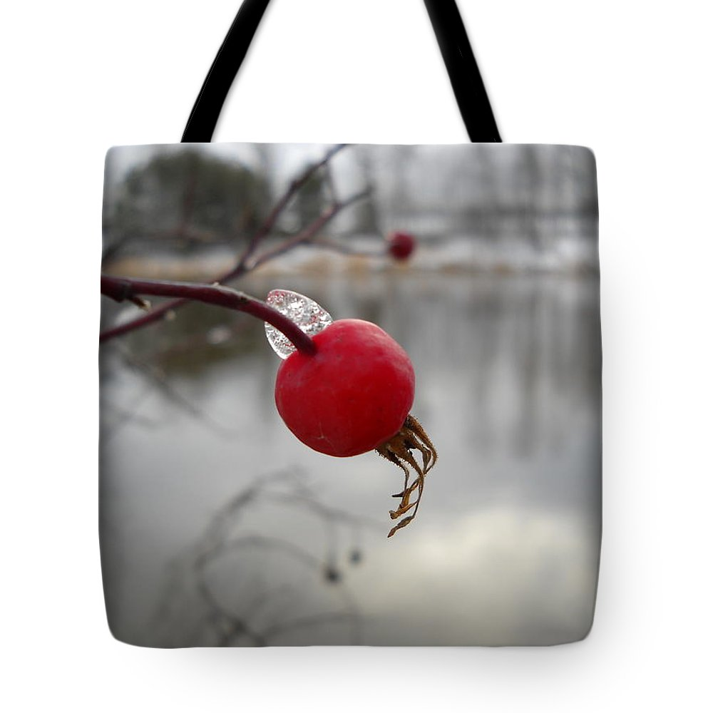 Wild Rose Hip Tote Bag featuring the photograph Wild Rose Hip On Mississippi River Bank by Kent Lorentzen