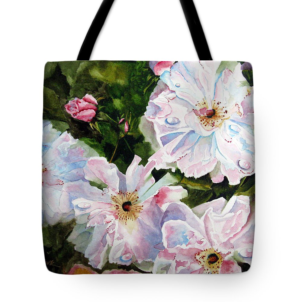 Flowers Tote Bag featuring the painting Wild Roses by Karen Stark