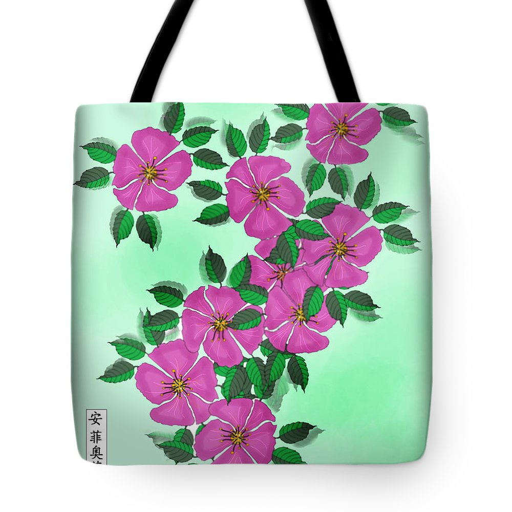 Floral Tote Bag featuring the painting Wild Roses by Anne Norskog